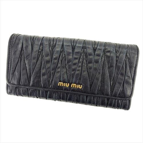 【中古】 ミュウミュウ 長財布 ファスナー付き 長財布 Miu Miu ブラック T6223s