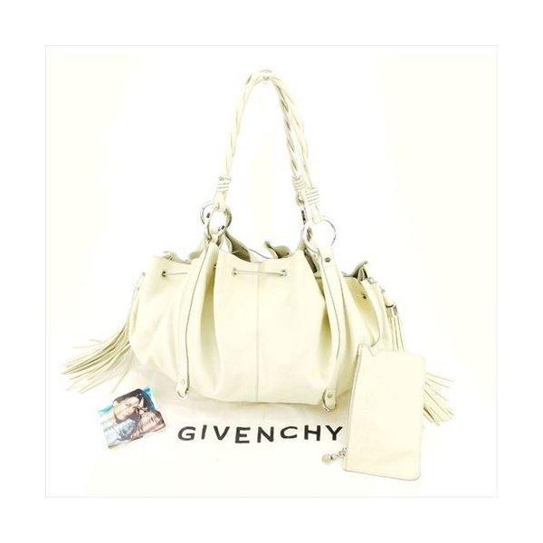 【中古】 ジバンシィ GIVENCHY ショルダーバッグ 巾着ショルダー バッグ メンズ可 パンプキントート ホワイト 白 レザー 美品 セール T6305