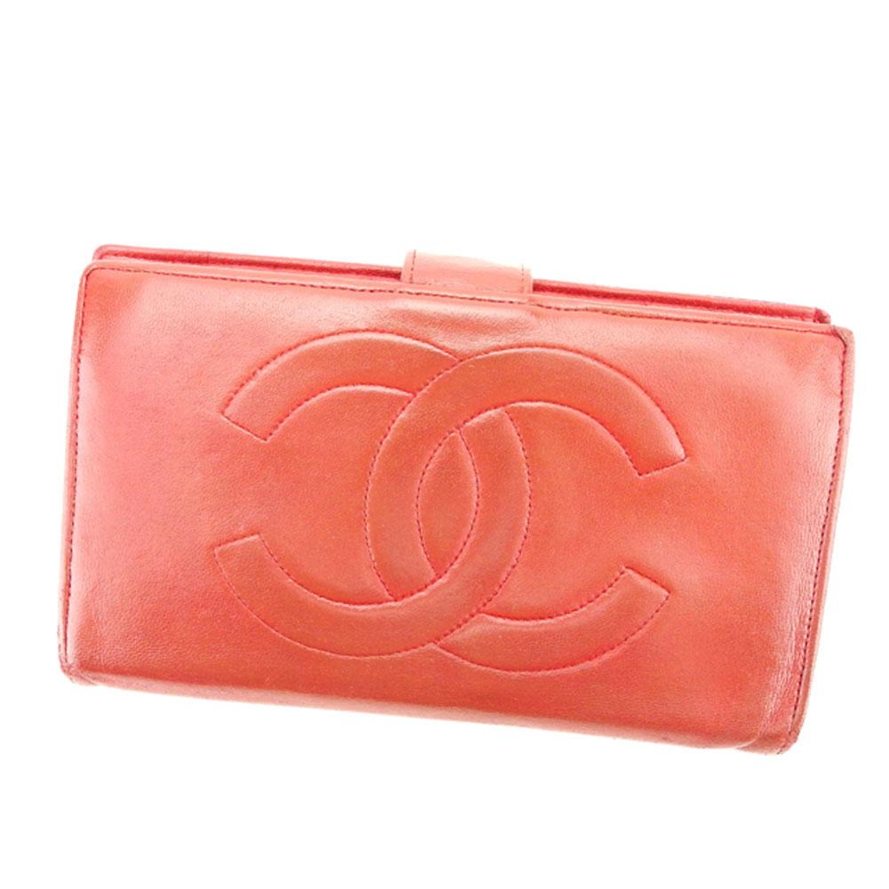 【中古】 シャネル CHANEL がま口 財布 長財布 二つ折り財布 メンズ可 ココマーク レッド レザー 人気 セール T6329