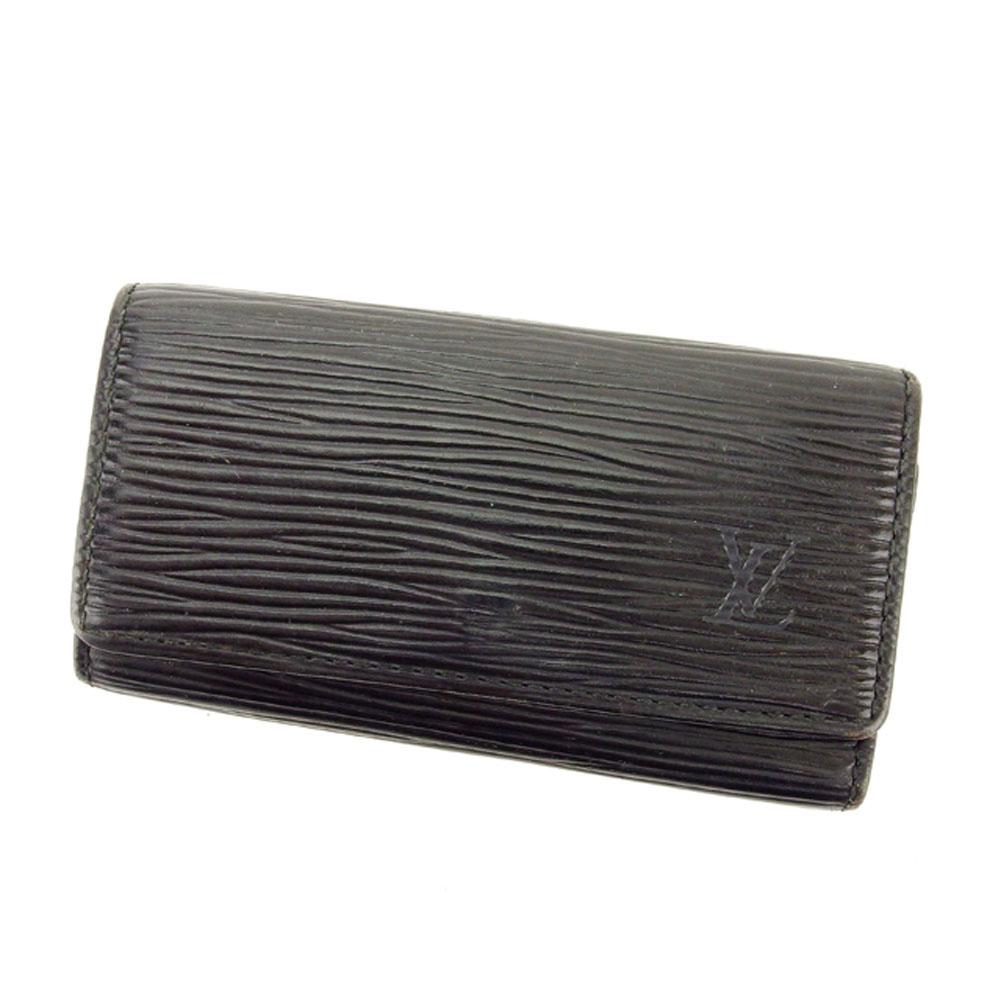 【中古】 ルイ ヴィトン Louis Vuitton キーケース 4連キーケース メンズ可 ミュルティクレ4 エピ ブラック 黒 エピレザー 人気 セール T6348 .