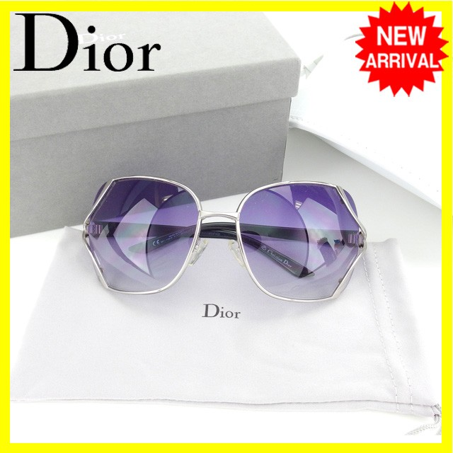 63e49d1288f5 Entering Christian Dior Christian Dior sunglasses glasses Lady's side logo  square model clear purple X silver ...