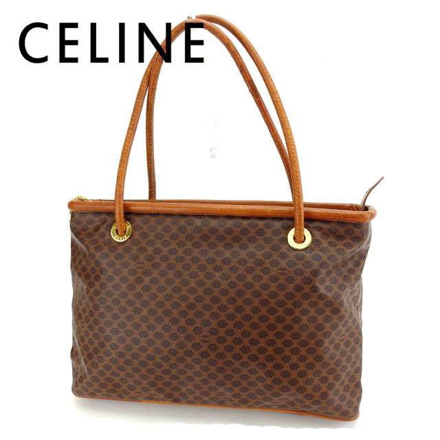 4a85bb1cff9d Celine CELINE Tote shoulder bag men and women and for macadam Brown x Gold  PVC   leather (compatible) translation and D1471 ☆
