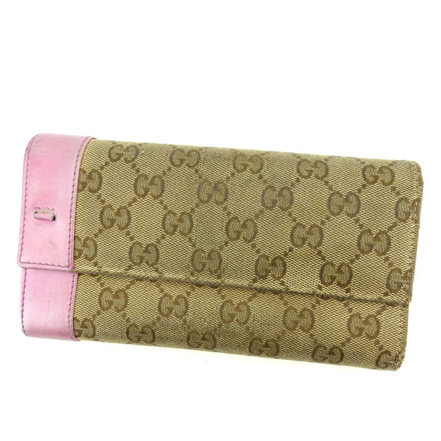 be8e8dca3e2 Gucci by GUCCI ZIP wallet two fold wallet ladies GG pattern Brown x pink  canvas   leather popular E1084