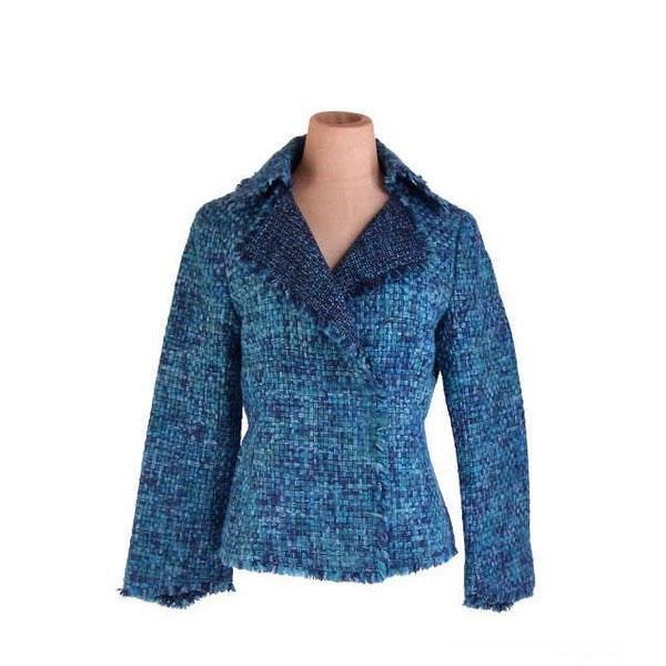 【中古】 ハナエ・モリ HANAE MORI ジャケット フリンジパイピング レディース ♯38サイズ ダブル ミックスツィード ブルーグリーン系 良品 人気 E1216