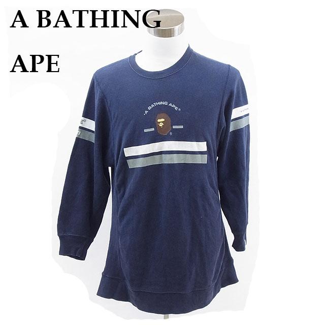 【中古】 ア・ベイシング・エイプ A BATHING APE トレーナー メンズ ネイビー E248 .