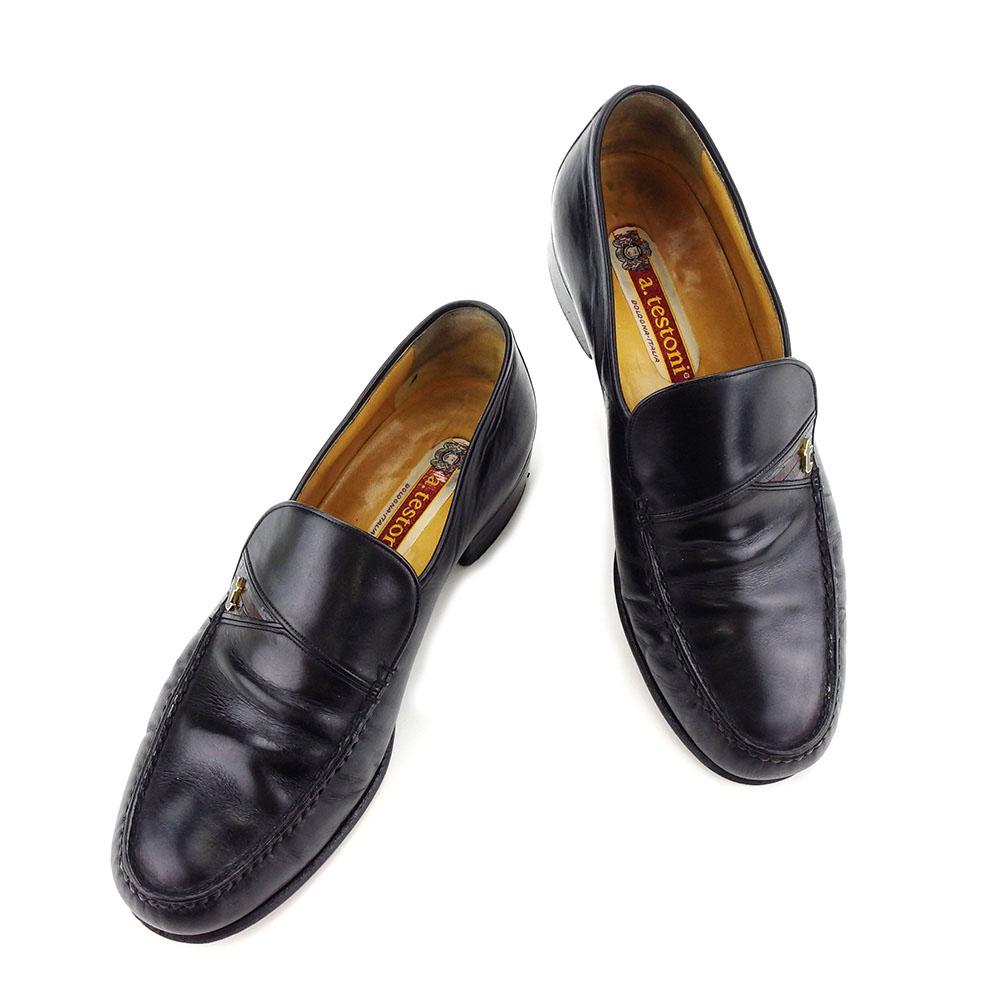 【中古】 ア・テストーニ a.testoni ローファー #5 1 2 シューズ 靴 メンズ可 ブラック レザー L1722