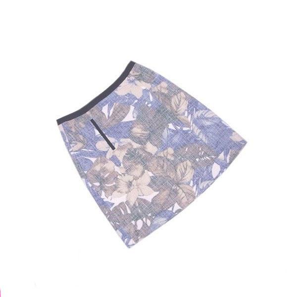 【値引きクーポン】 【中古】 ロートレアモン LAUTREAMONT スカート フレアーシルエット レディース ♯38サイズ ブルー×ベージュ系 L2101 .