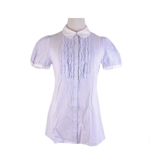 4b3a1c70 Stripe white X light blue C/100% (correspondence) (deep-discount immediate  delivery) R1031 with the シェロー chereaux shirt / short sleeves / Lady's /  frill