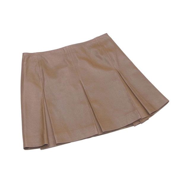 【中古】 ダナキャランニューヨーク DKNY スカート フレアー ミニ レディース ♯4サイズ タック入り ブラウン 羊革(裏地)ポリエステル T14535