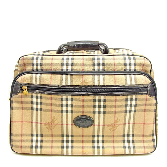 f20f0481fcfb Sale T151 which there is Burberry BURBERRY Boston bag travel bag men s  possible check beige system X black X gold PVC X leather reason in