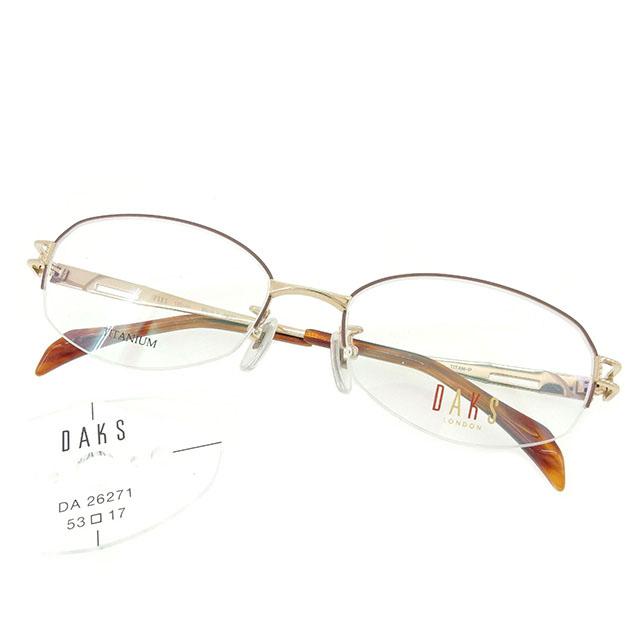 【中古】 ダックス DAKS 眼鏡 メガネ レディース メンズ 可 展示品未使用 ゴールド×ブラウン T1598