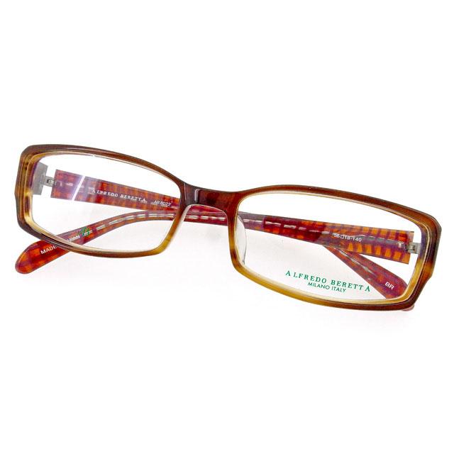 【中古】 アルフレッド ベレッタ ALFREDO BERETTA メガネ フレーム 眼鏡 レディース メンズ 可 テンプル内側チェック柄 クリア×ブラウン×シルバー系 プラスチック×シルバー金具 T1873