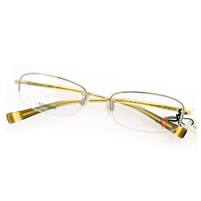 【中古】 シン 真 SHIN メガネ フレーム 眼鏡 レディース メンズ 可 クリア×ベージュ系 プラスチック×チタニウム T1900