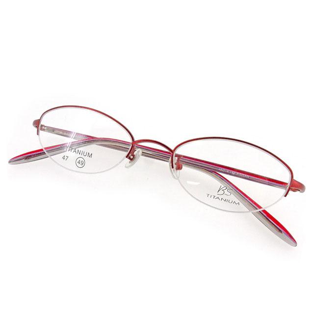 【中古】 BS メガネ フレーム 眼鏡 レディース ハーフリム クリア×ボルドー×パープル系 プラスチック×チタニウム 中古 【未使用】 T1968