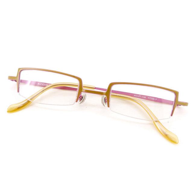 【中古】 エムツークオレ M2 CUORE メガネ フレーム 眼鏡 レディース スクエア型 ベージュ×ピンク系 プラスチック×チタン T2281