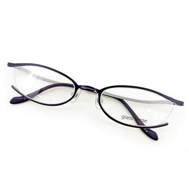 【中古】 グラス センス glass sense メガネ 眼鏡 レディース メンズ 可 ダークネイビー×シルバー プラスチック×チタン T2282