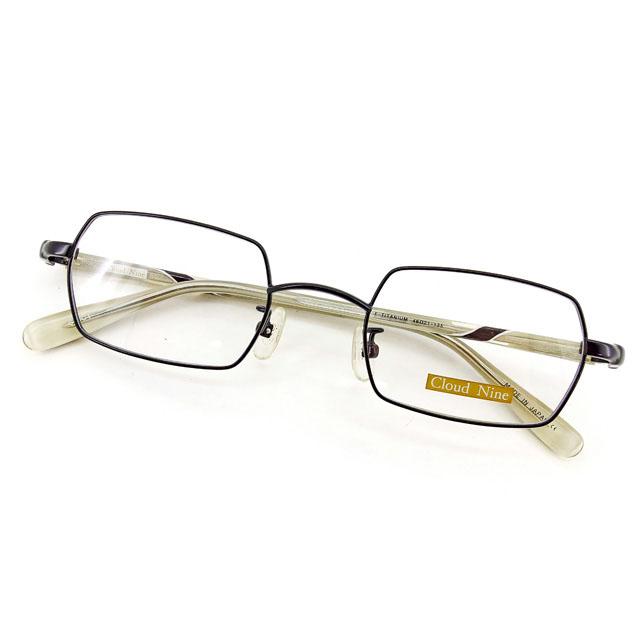 【中古】 クラウド ナイン Cloud Nine メガネ フレーム 眼鏡 レディース メンズ 可 スクエア型 ブラック×クリアベージュ×ホワイト プラスチック×チタニウム T2304 .