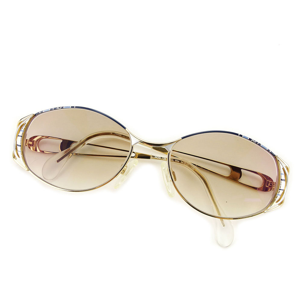 【中古】 カザール CAZAL サングラス メンズ可 ブラウン×ネイビー×ゴールド プラスティック 美品 訳あり T3123