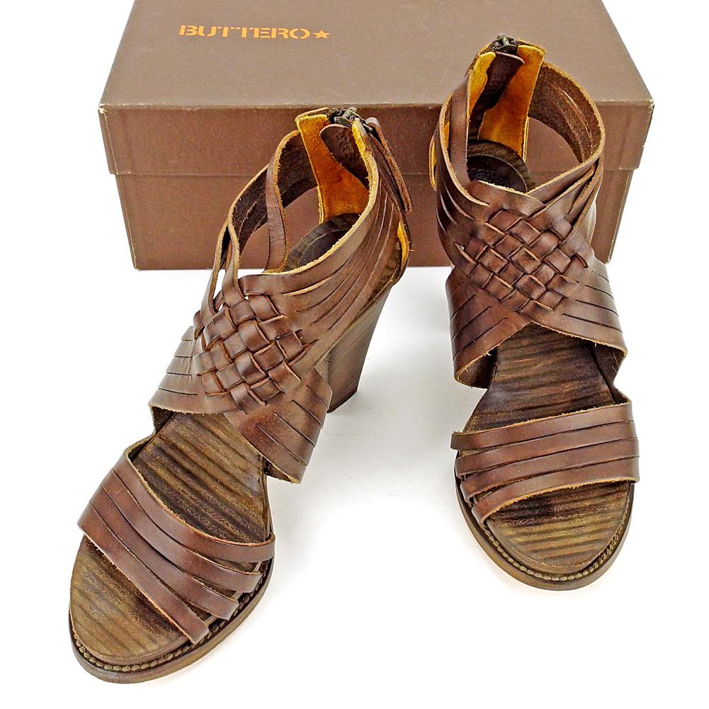 【中古】 ブッテロ BUTTERO サンダル シューズ 靴 レディース ♯36 ブーサン ダークブラウン系 レザー T4105