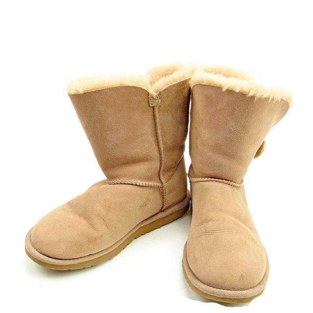 d86e49556a0 アグ UGG boots shoes shoes Lady's ♯ 22 mouton Bailey button beige sheepskin  quality goods sale T424