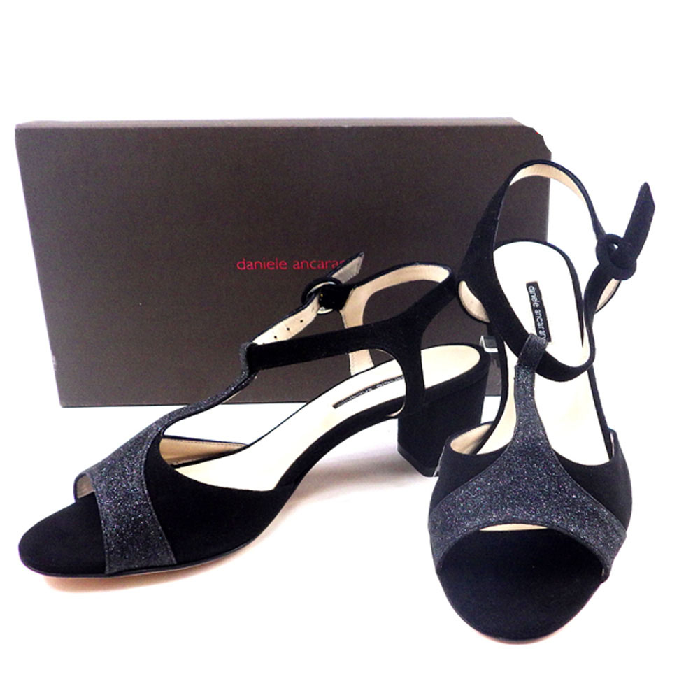 【中古】 ダニエレアレッサンドリーニ DANIELE ALESSANDRINI サンダル シューズ 靴 メンズ可 #36ハーフ ブラック スエード T4742 .