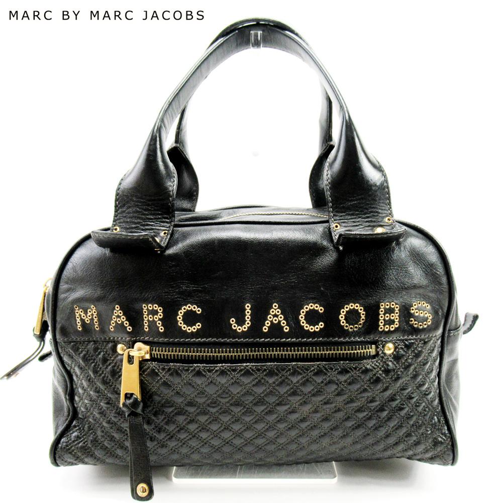 【中古】 マークジェイコブス トートバッグ ミニボストンバッグ ブラック レザー MARC JACOBS バック 収納 ファッション ブランド ブランドバッグ 手持ちバッグ 人気 贈り物 迅速発送 在庫処分 男性 女性 良品 夏 1点物 C3605