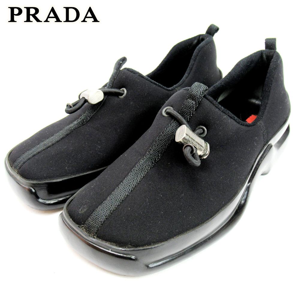 【中古】 プラダ PRADA シューズ シューズ 靴 レディース #36ハーフ ブラック ナイロン C3625