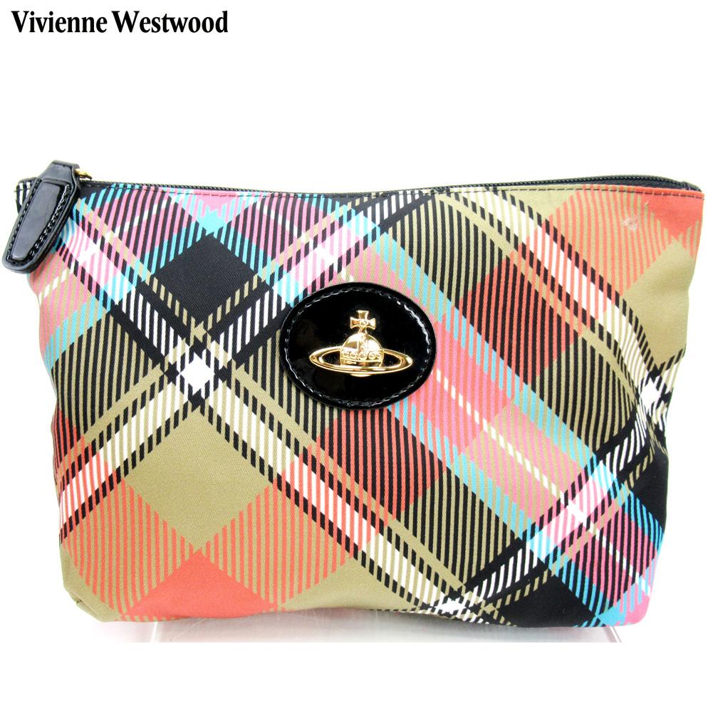 【中古】 ヴィヴィアン ウエストウッド Vivienne Westwood ポーチ 化粧ポーチ レディース ピンク ブラック ベージュ ナイロン C3626
