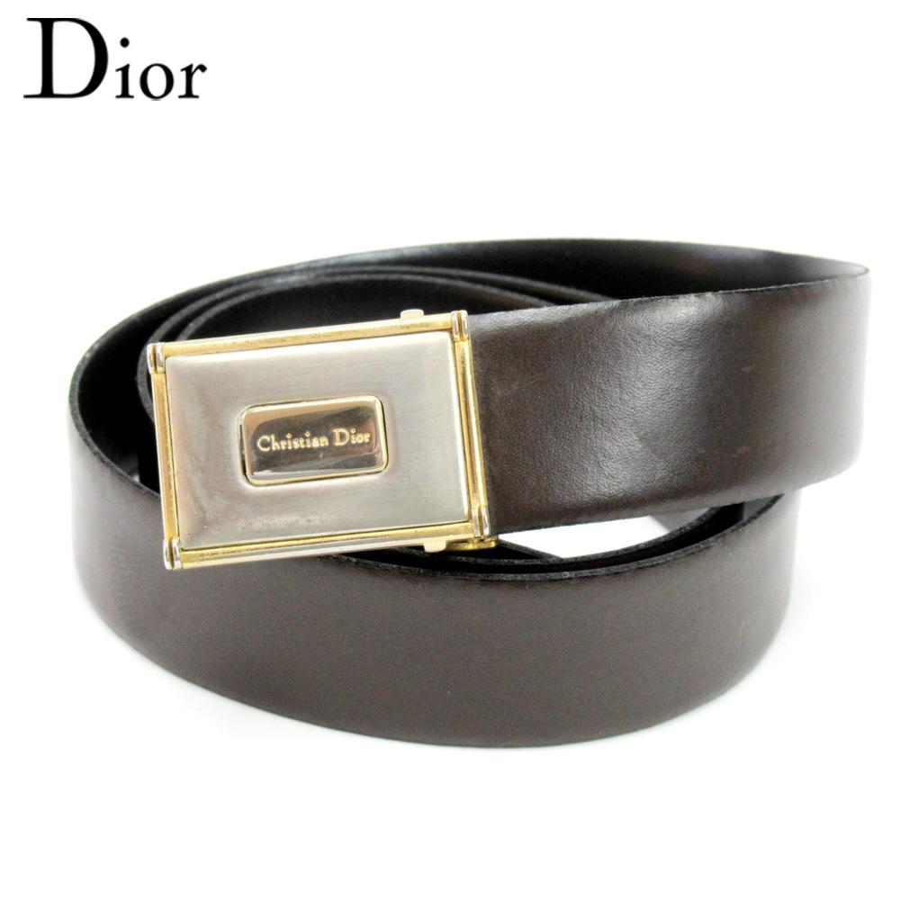 【中古】 ディオール Dior ベルト ウエストマーク レディース メンズ ブラウン シルバー ゴールド レザー×ゴールド金具 C3635