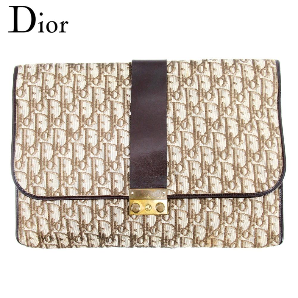 【中古】 ディオール Dior ドキュメントケース 書類ケース レディース メンズ ブラウン ベージュ キャンバス×レザー T10075