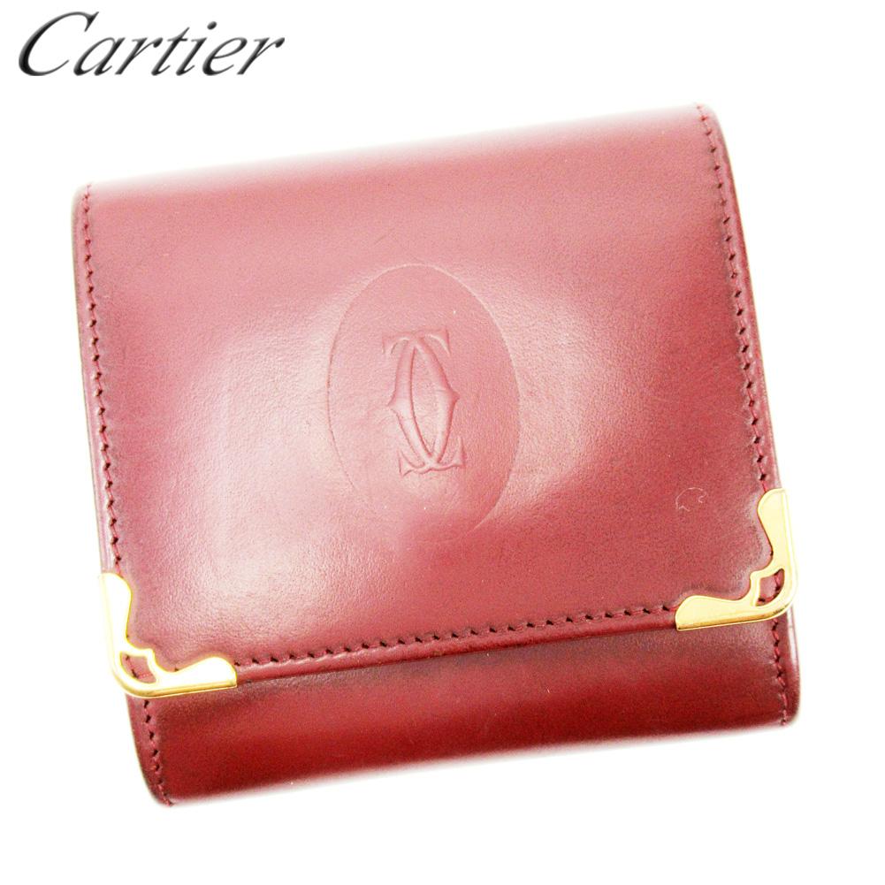 【スーパーセール】 【20%オフ】 【中古】 カルティエ Cartier コインケース 小銭入れ レディース メンズ ボルドー レザー T10117