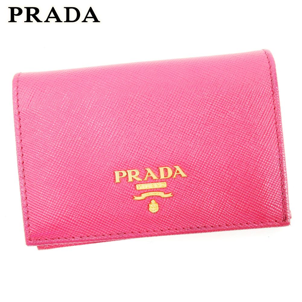 【中古】 プラダ PRADA カードケース 名刺入れ レディース ピンク レザー T10140 .