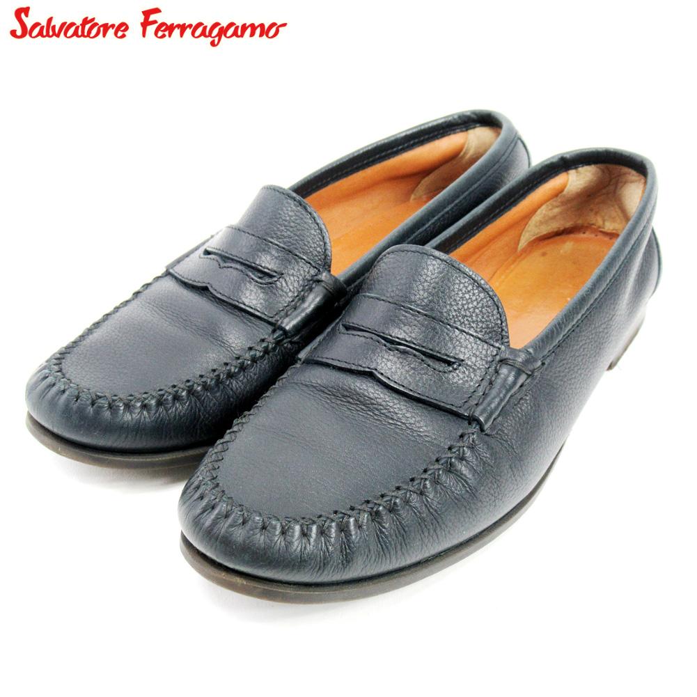 【中古】 サルヴァトーレ フェラガモ Salvatore Ferragamo シューズ シューズ 靴 レディース #7ハーフ ブラック レザー T10162