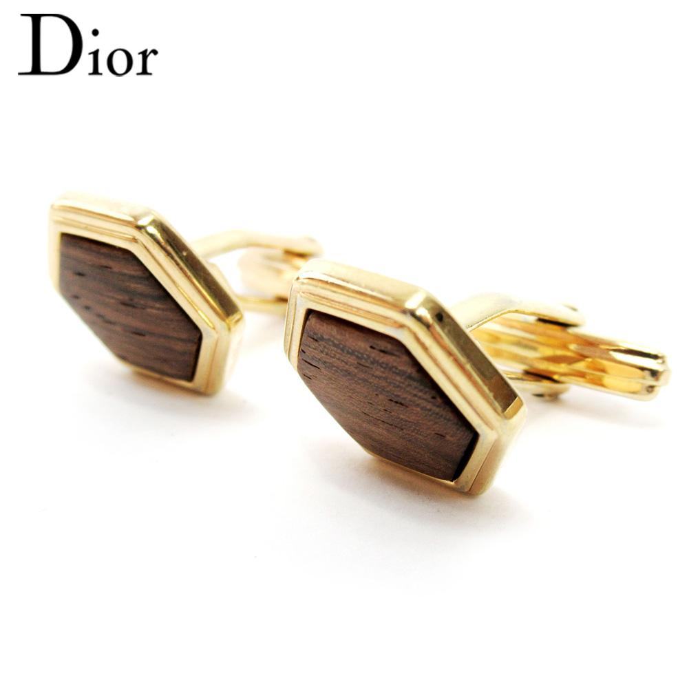 【中古】 ディオール Dior カフス アクセサリー メンズ ゴールドブラウン GP T10168