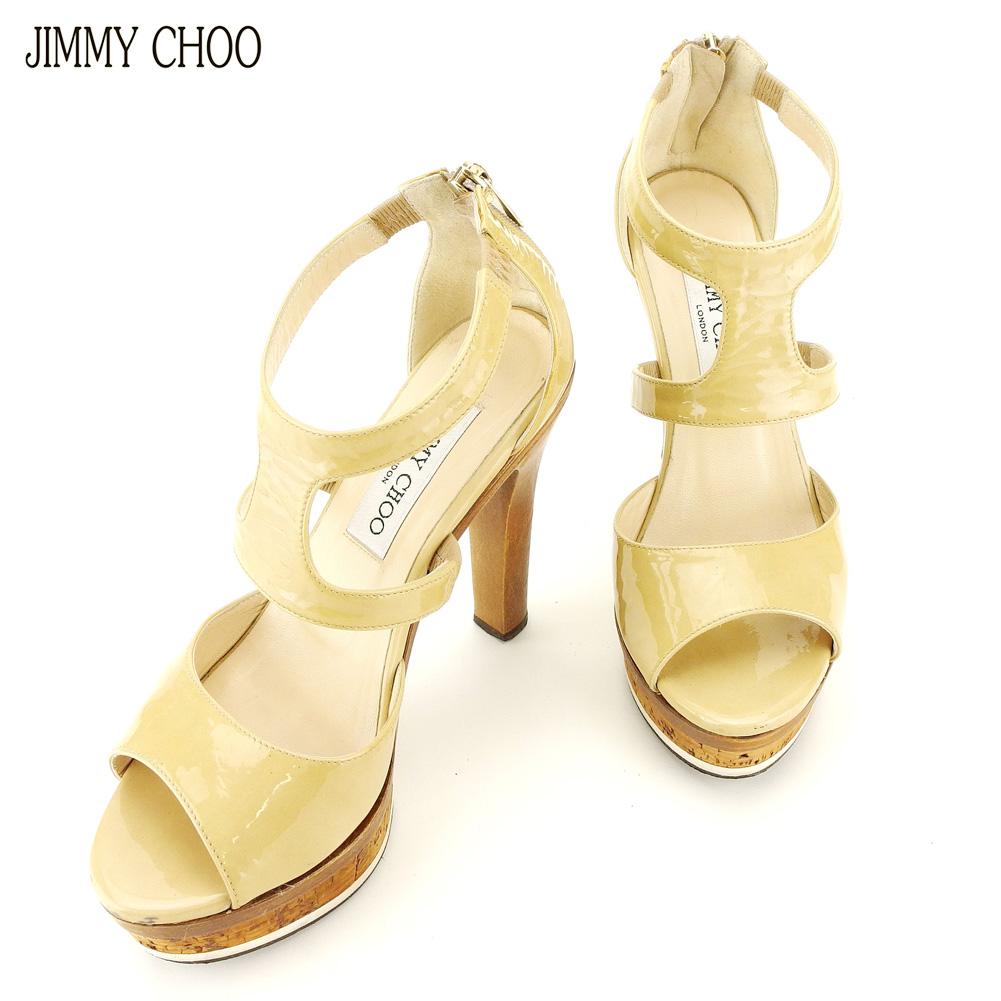 【中古】 ジミーチュウ JIMMY CHOO サンダル シューズ 靴 レディース ♯35ハーフ ハイヒール ベージュ ブラウン ゴールド エナメルレザー F1518