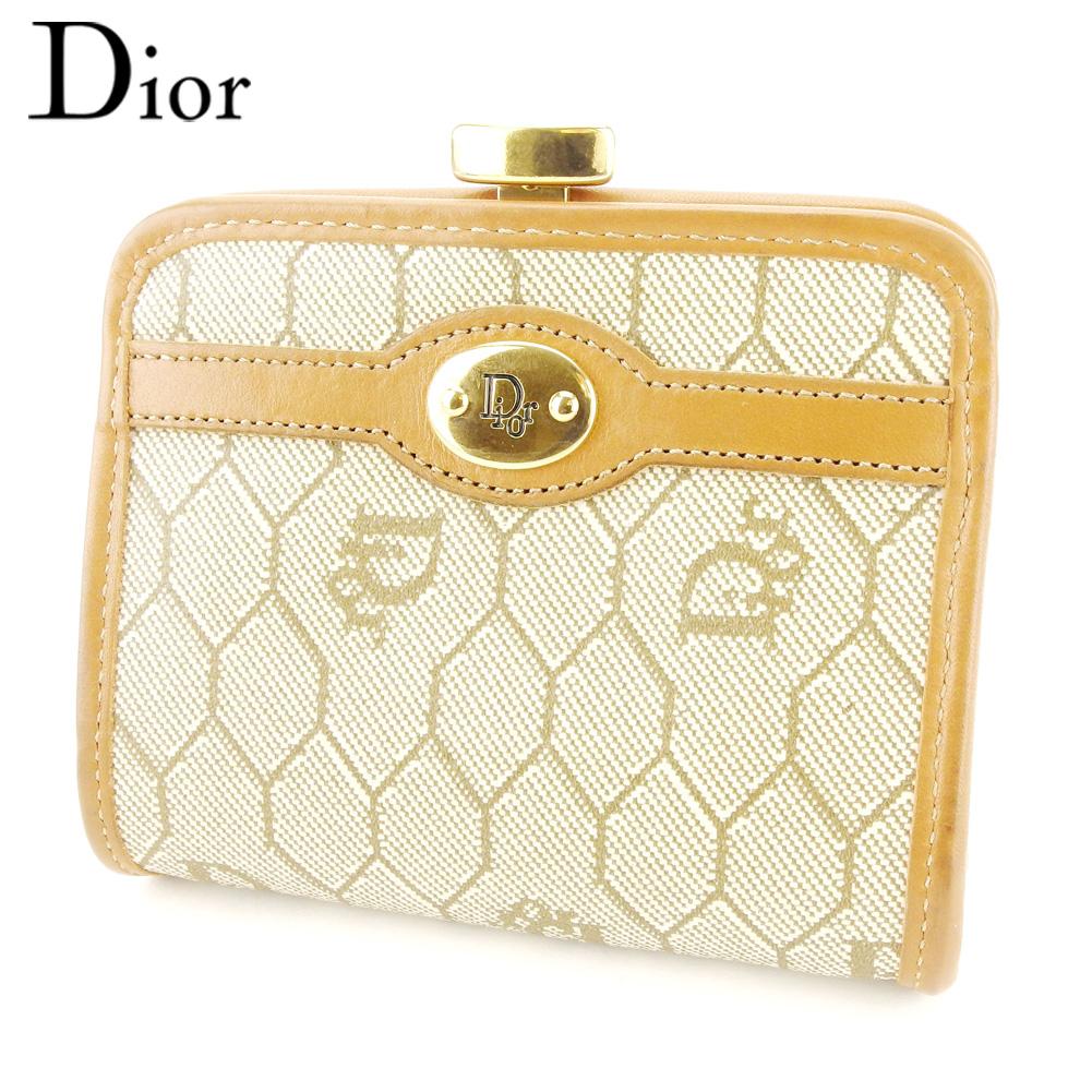 【スーパーセール】 【20%オフ】 【中古】 ディオール Dior コインケース 小銭入れ 小物入れ レディース メンズ オールドディオール ベージュ ブラウン ゴールド PVC×レザー T10326