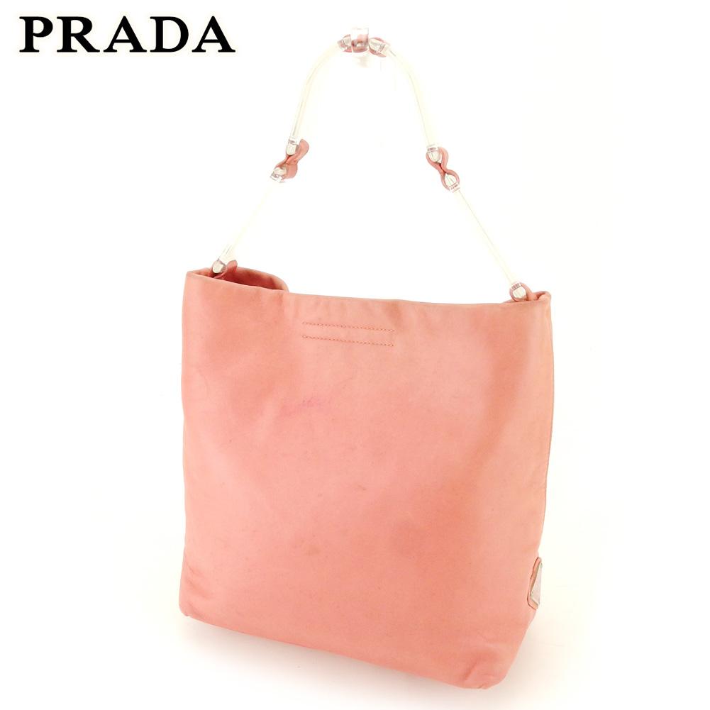 【中古】 プラダ ハンドバッグ バッグ トライアングルロゴ ピンク シルバー レザー PRADA バック 手持ちバッグ ファッション ブランド ブランドバッグ 収納 人気 贈り物 迅速発送 在庫処分 男性 女性 良品 夏 1点物 T10348