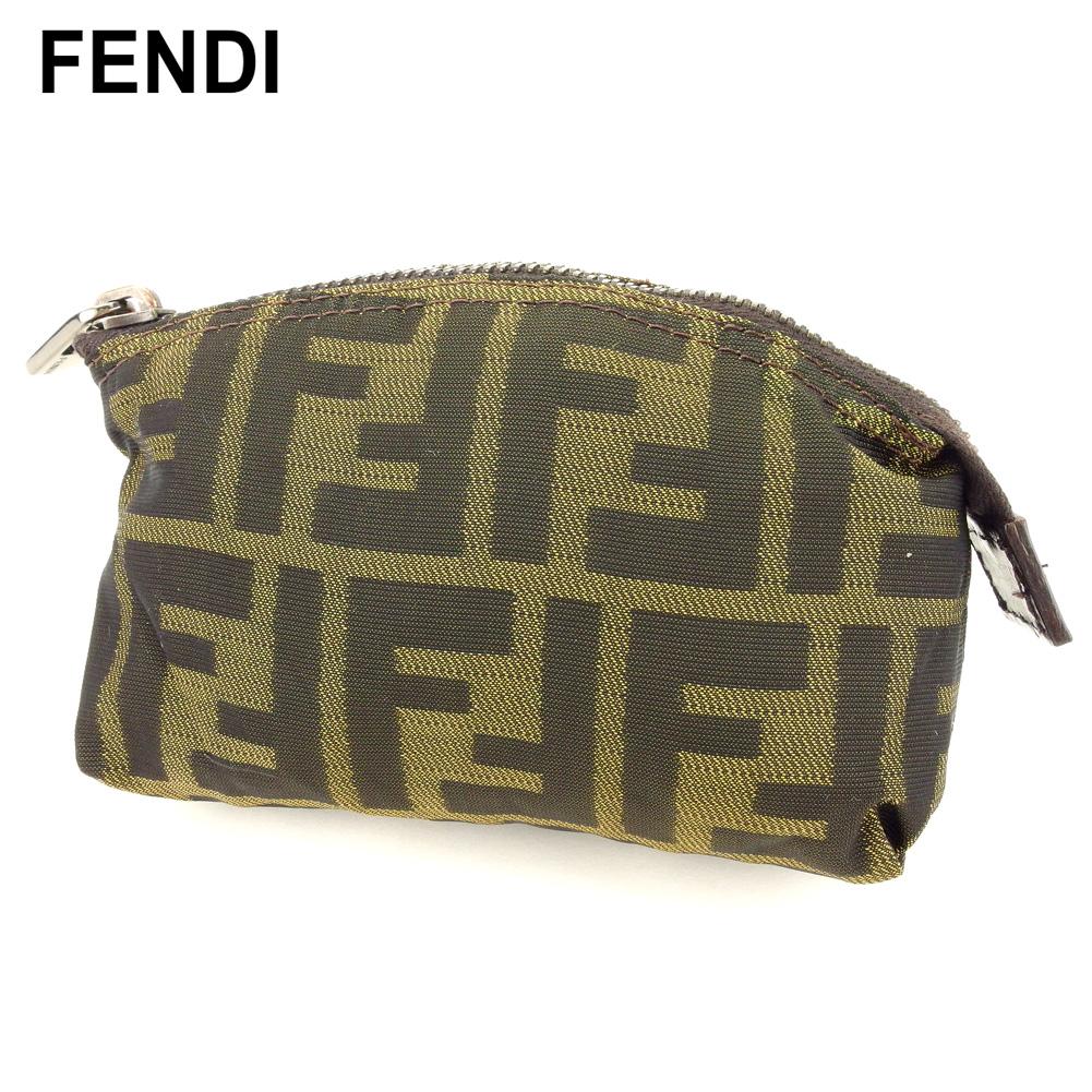 【中古】 フェンディ FENDI ポーチ 化粧ポーチ レディース メンズ ブラック ベージュ ブラウン キャンバス×レザー T10357
