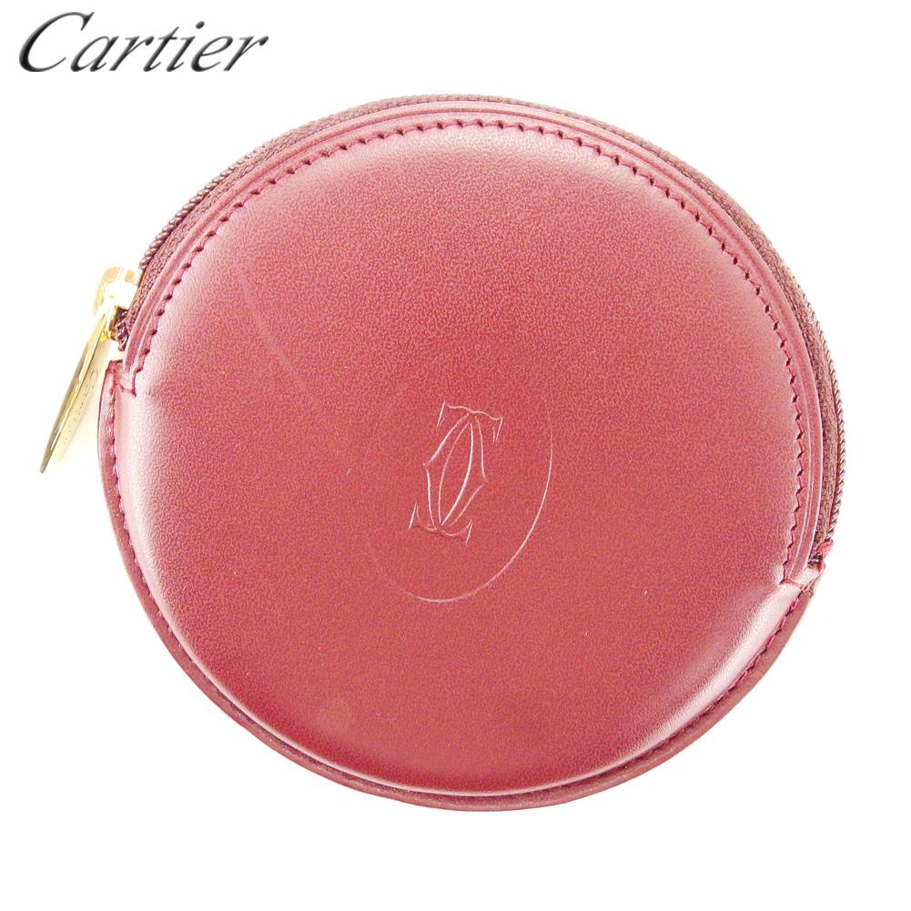 【中古】 カルティエ Cartier コインケース コインケース コインケース 小銭入れ レディース メンズ ラウンドフォルム ボルドー ゴールド レザー T10358 . 880