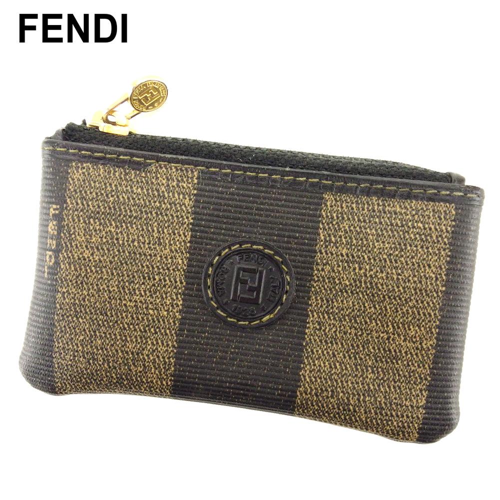 【中古】 フェンディ FENDI コインケース 小銭入れ レディース メンズ ブラック ベージュ ゴールド PVC×レザー T10359
