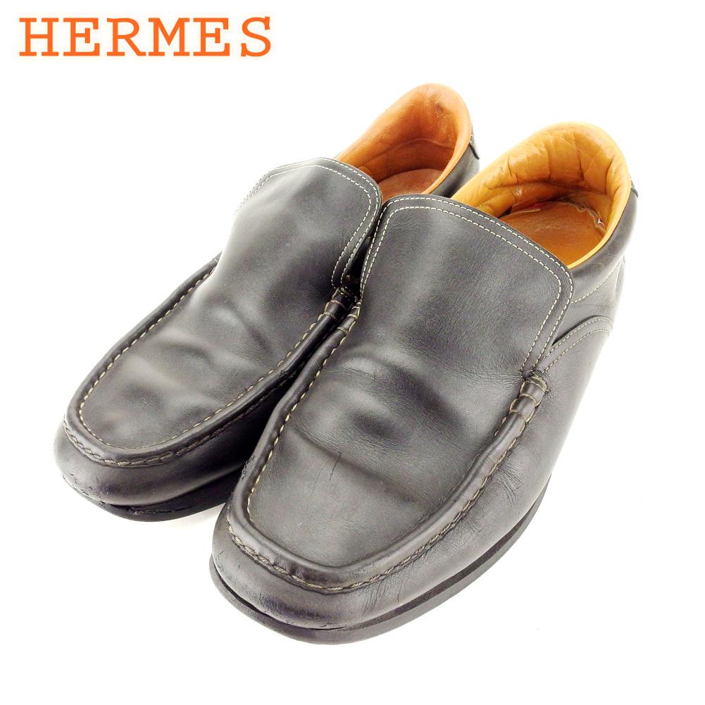 【中古】 エルメス HERMES シューズ 靴 メンズ ♯42ハーフ&43 ブラック ブラウン レザー T10366