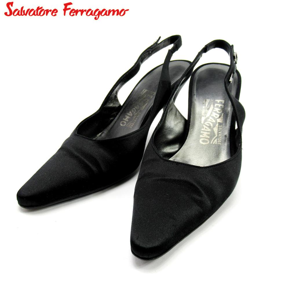 【中古】 サルヴァトーレ フェラガモ Salvatore Ferragamo パンプス シューズ 靴 レディース #7 ブラック サテン F1563
