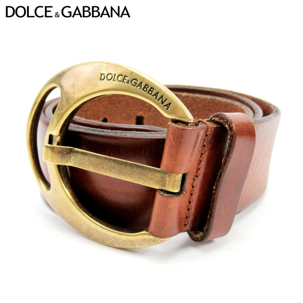 【中古】 ドルチェ&ガッバーナ DOLCE&GABBANA ベルト ウエストマーク レディース メンズ ブラウン レザー×ゴールド金具 T10465