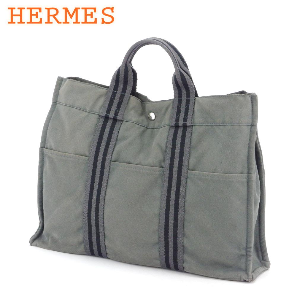 【中古】 エルメス トートバッグ ハンドバッグ レディース メンズ トートMM フールトゥ グレー 灰色 ブラック シルバー コットンキャンバス HERMES G1428