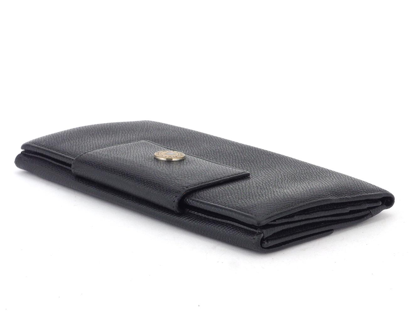 ブルガリ 長財布 Wホック 三つ折り 財布 レディース メンズ ロゴボタン ブラック ゴールド レザー BVLGARI T105754LAjR35q