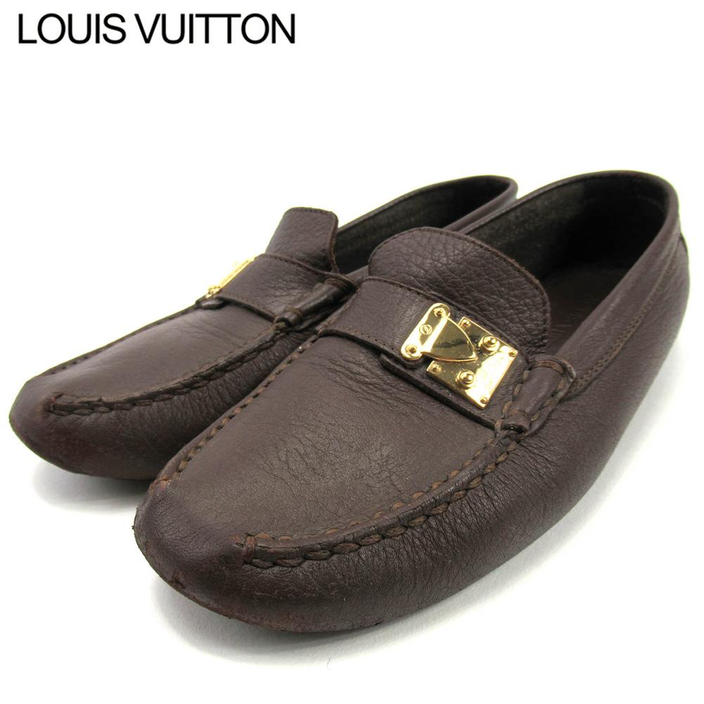 【中古】 ルイ ヴィトン ドライビングシューズ シューズ 靴 レディース ♯35 ブラウン レザー Louis Vuitton T16679