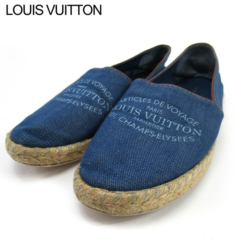 【中古】 ルイ ヴィトン スリッポン シューズ 靴 レディース ♯37ハーフ ブルー キャンバス Louis Vuitton T16688