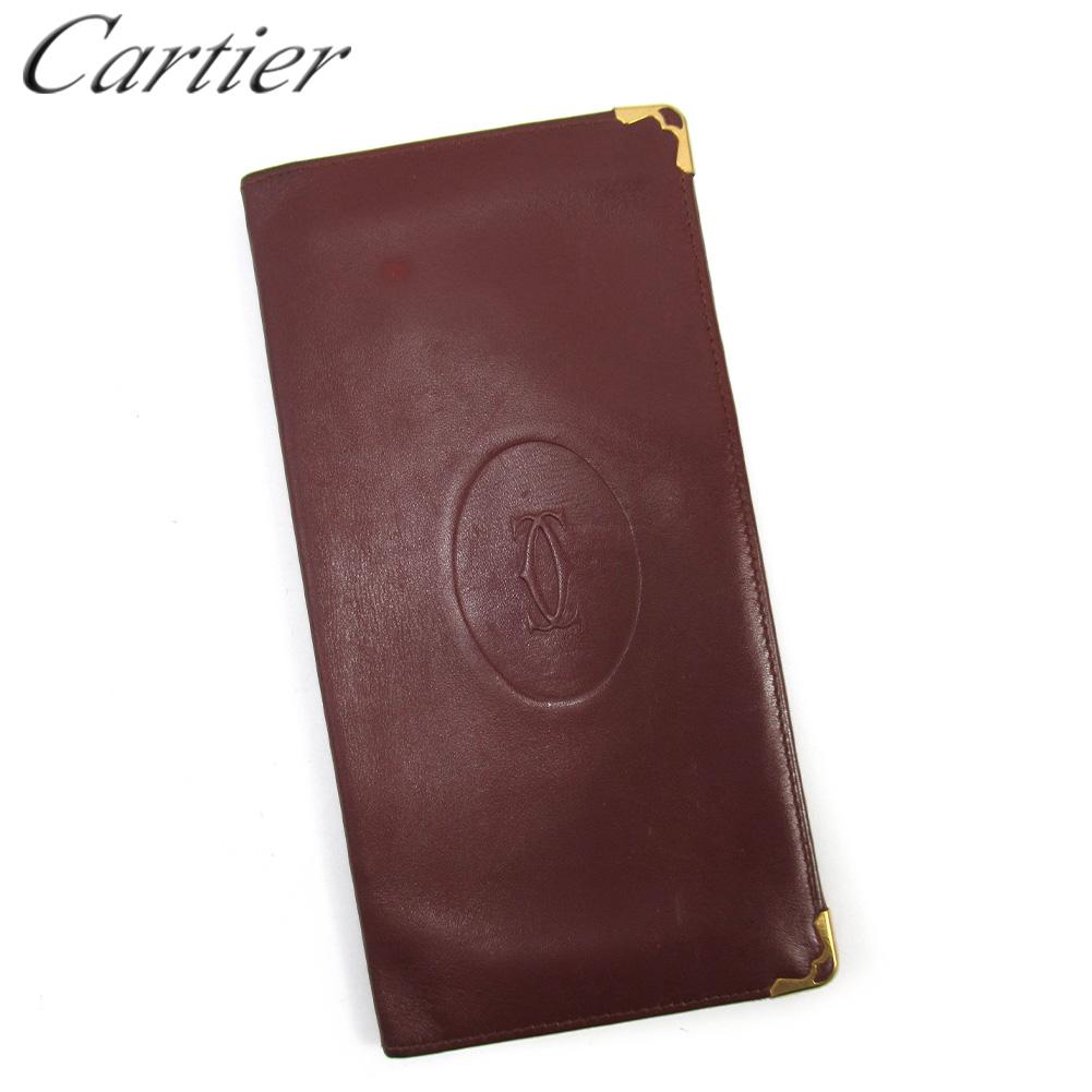 【中古】 カルティエ 長札入れ 長財布 さいふ レディース メンズ マストライン ボルドー レザー Cartier T16704
