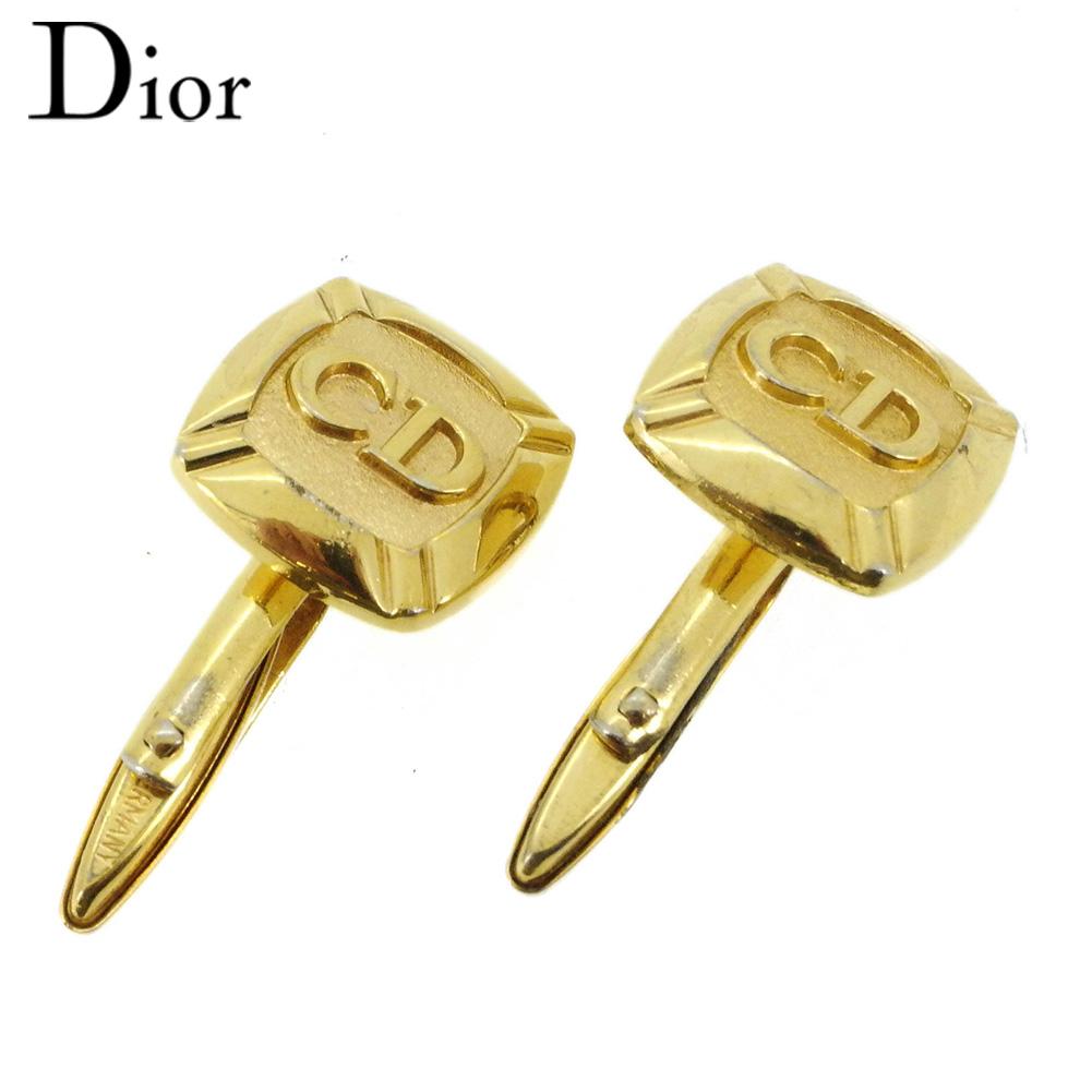 秋 ディオール Dior cuffs 中古 カフス カフリンクス ゴールド CDマーク T16860 ゴールドメッキ メンズ 気質アップ スウィヴル式 正規取扱店