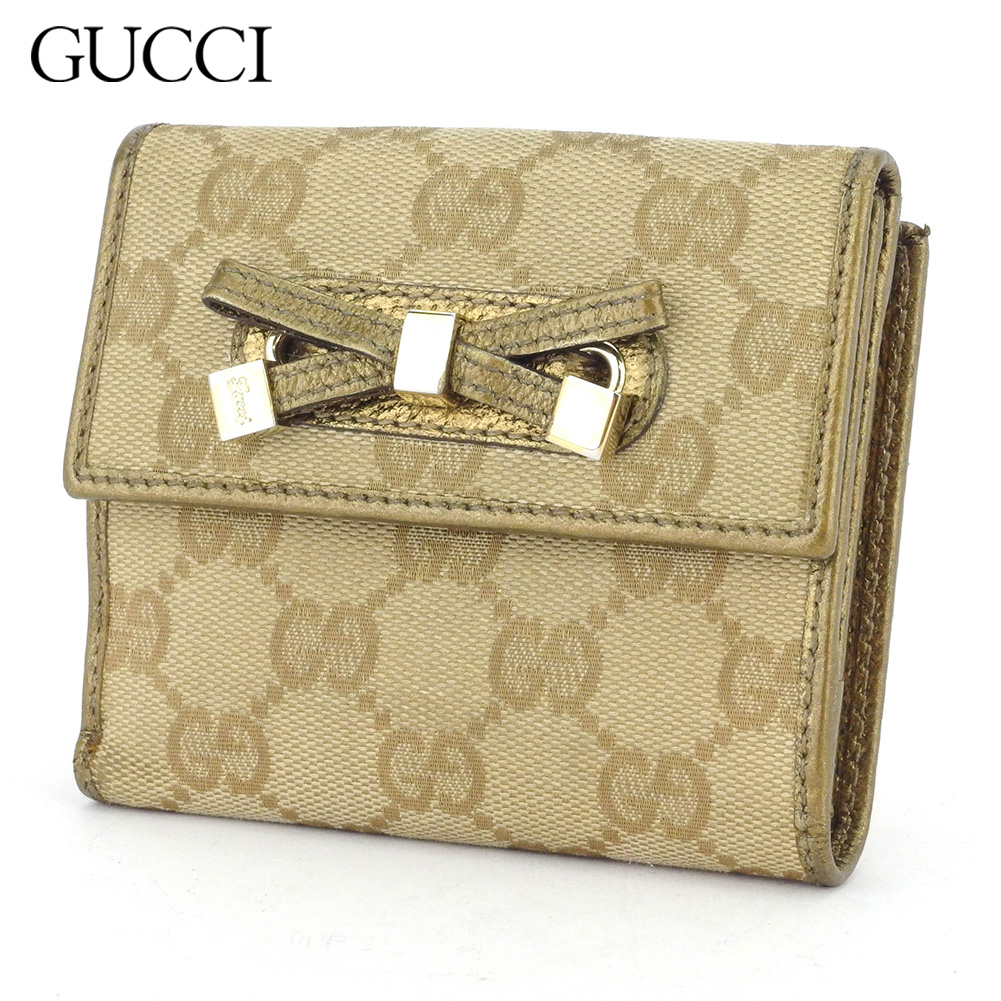 【中古】 グッチ Wホック財布 二つ折り 財布 レディース GG柄 ベージュ ゴールド キャンバス×レザー Gucci T16916